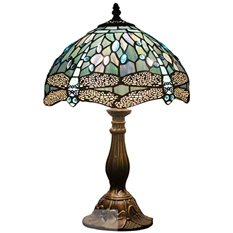 7d2ed211b2f Tiffany Lamp Sea Blue Stained Glass and Crystal Bead Dragonfly Style Table  Lamps Height 18 Inch