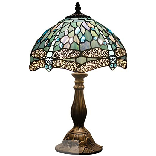 Tiffany Lamp 18 Inch Tall Sea Blue Stained Glass End Bedside Art Table Lamps Dragonfly Crystal Style Accent Antique Desk Light Decorative Living Room