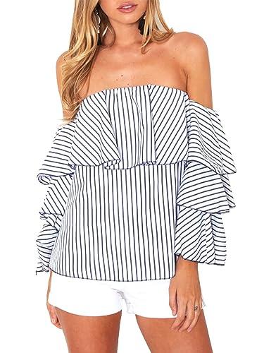 Simplee Apparel Simple vestido de la mujer de manga larga con volantes blusa camisa de rayas Ruffle ...