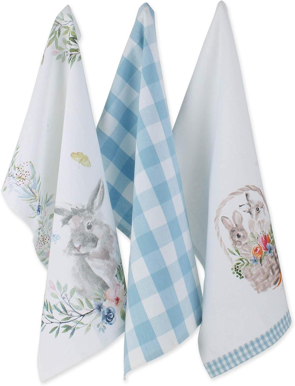 DII Flower Garden Kitchen Textiles, Dishtowel S/3, Floral Bunnies 3 Piece