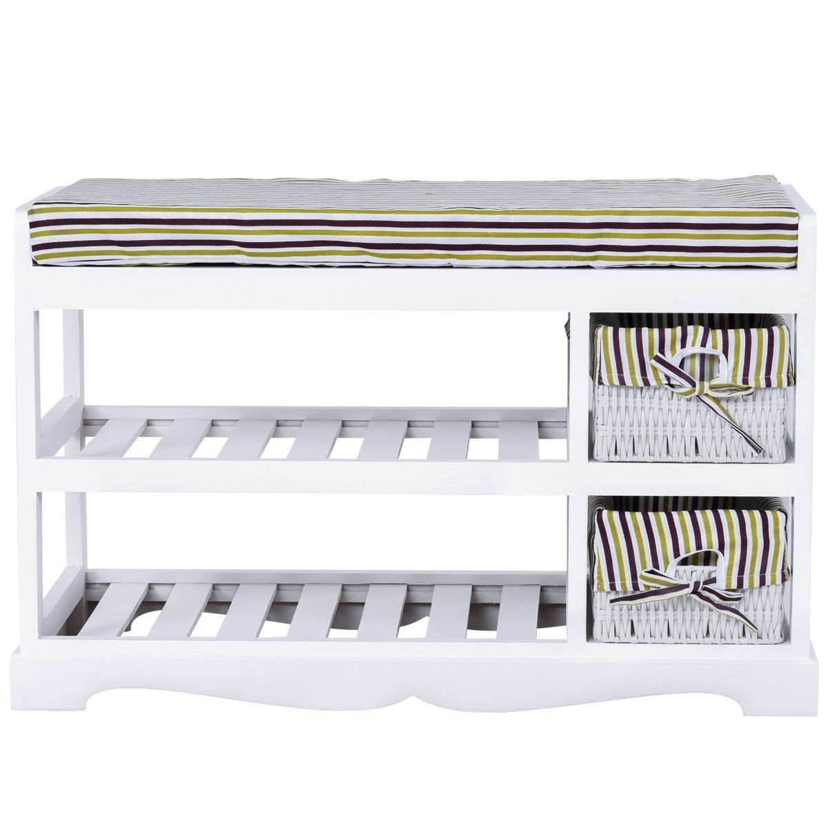 Shoe Storage Bench Rack Entryway Padded Seat White Wood Furniture 2 Basket MD Group