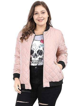 6859dbc6078 Agnes Orinda Women s Plus Size Zip-up Contrast Color Quilted Bomber Jacket  at Amazon Women s Coats Shop