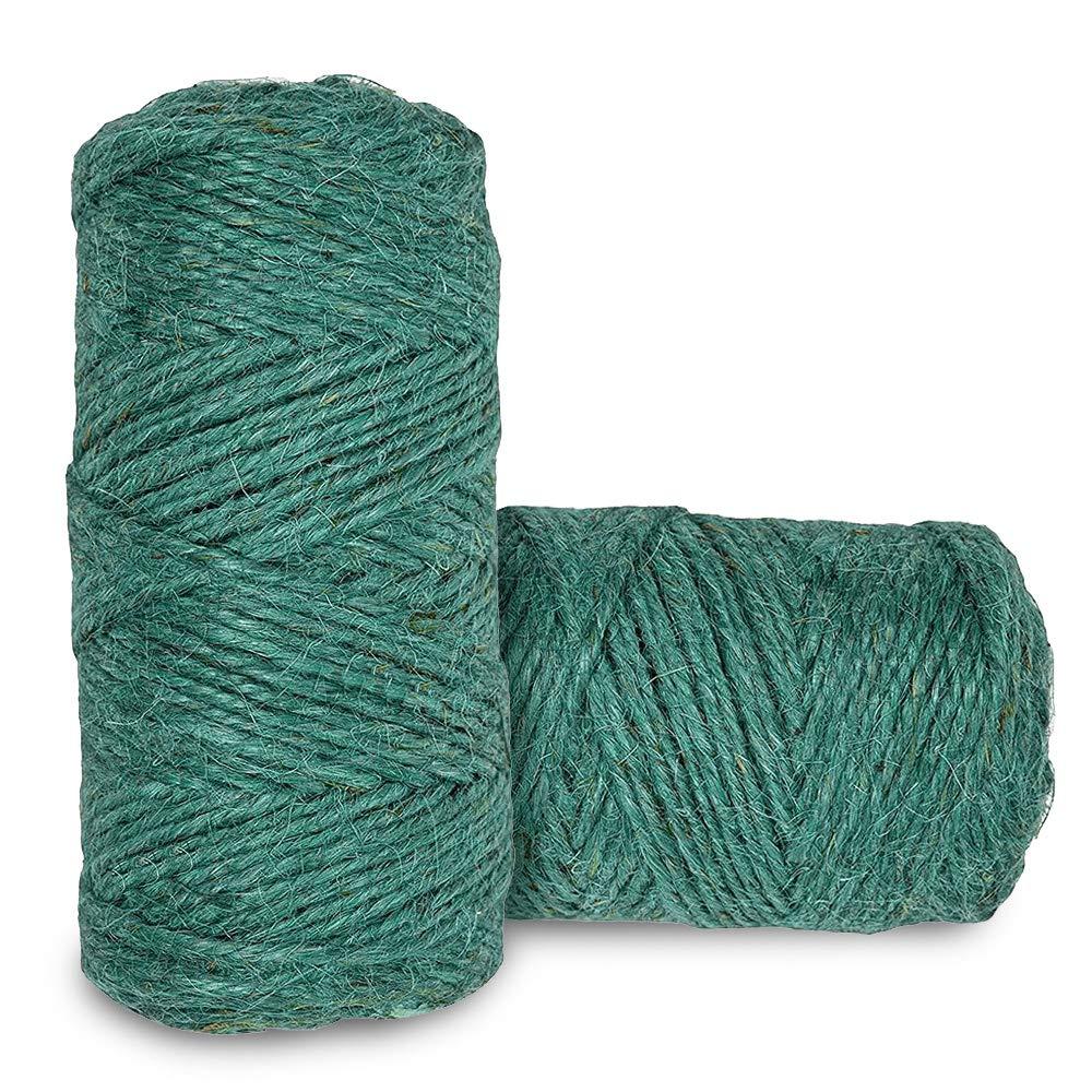 Pveath 100m/Roll Green Garden Twine, 2 Roll Natural Hemp Rope DIY Tag Label Hang Rope, Wedding Home Woven Decorative Soft Jute Twine String Gardening Cord(320 feet x 2mm, Dark Green)