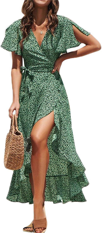 Fleur Wood Women's Short Sleeve V Neck Ruffle Floral Wrap Maxi Dresses Flowy Summer Boho Maxi Dress with Tie Belt