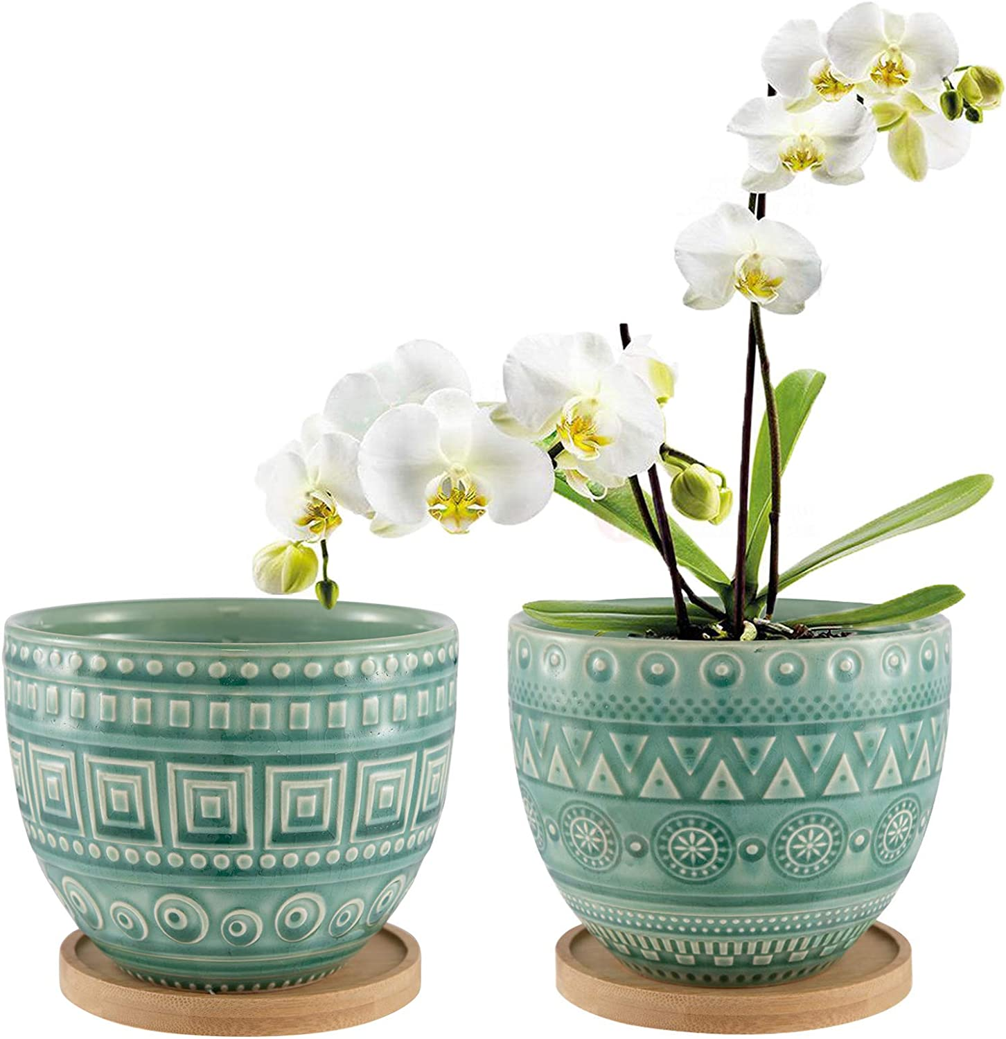 Retro Succulent Planter Pot Colorful Glaze Ceramic Planters Indoor Set of 2 with Drainage Hole and Bamboo Tray
