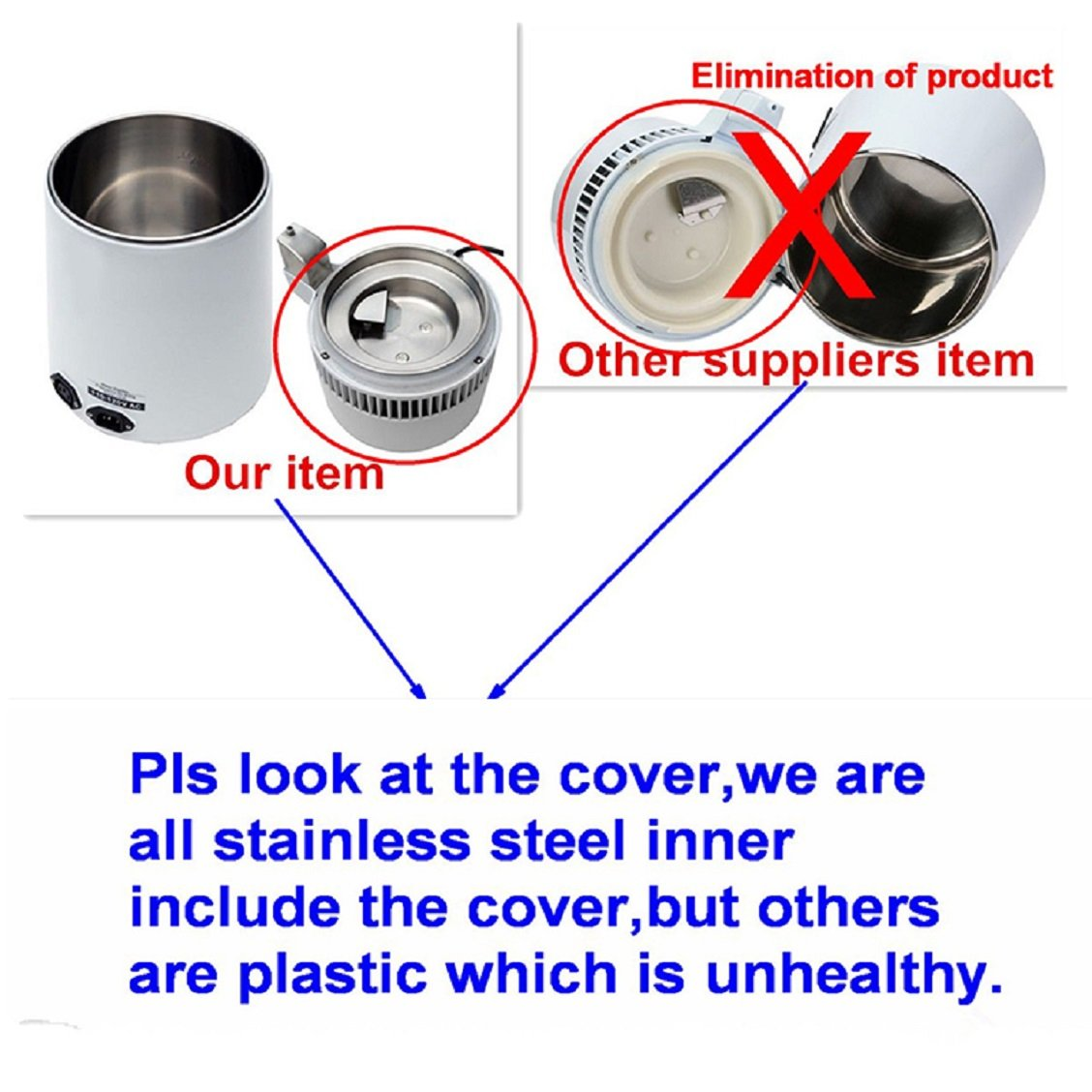 Tinsay 4L Stainless Steel Internal Pure Water Distiller Water Filter Distilled Water