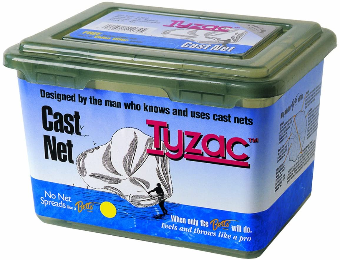 Betts 4N5-I Tyzac Nylon Cast Net 5-FeetBoxed 1/4-Inch Mesh 3/4-Pound Iron Weights