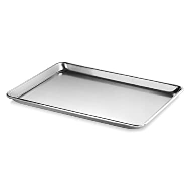 New Star Foodservice 36862 Commercial-Grade 18-Gauge Aluminum Sheet Pan/Bun Pan, 13  L x 18  W x 1  H (Half Size)   Measure Oven (Recommended)