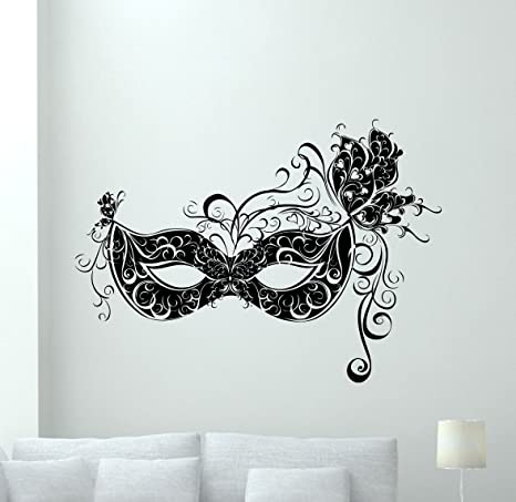 Masquerade Mask Wall Decal Carnival Vinyl Sticker Attraction Wall Decor  Cool Wall Art Kids Teen Girl