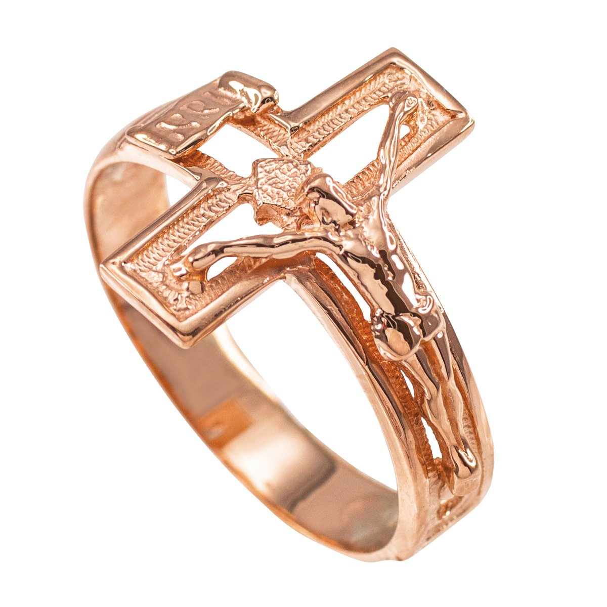Religious Jewelry by FDJ Solid 10k Rose Gold Open Design Cross Band Crucifix Ring (Size 16)