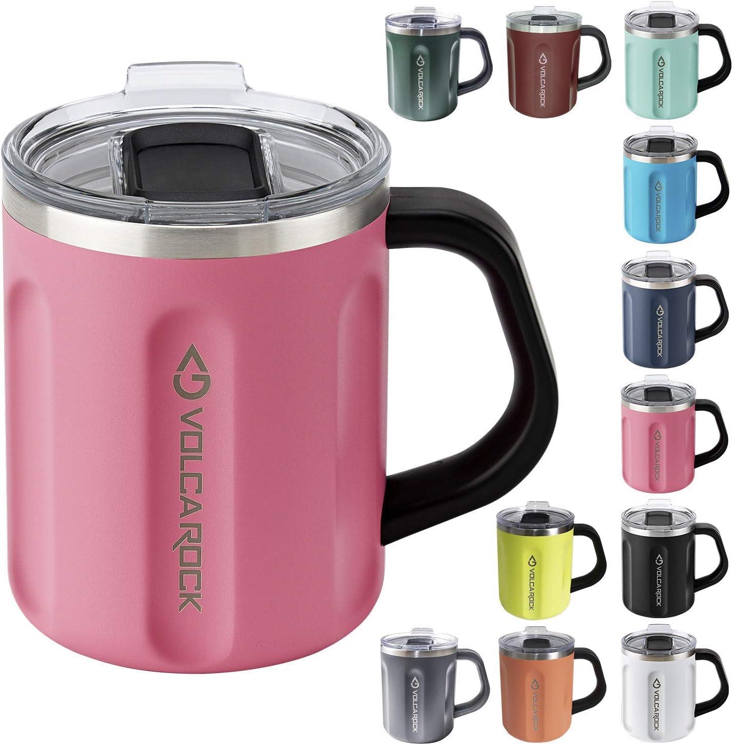 VOLCAROCK Coffee Mug with Handle, 16oz Insulated Stainless Steel Reusable Coffee Cup, Double Wall Coffee Travel Mug, Keep Cold 6 Hours and Keep Warm 5 Hours (Pink)