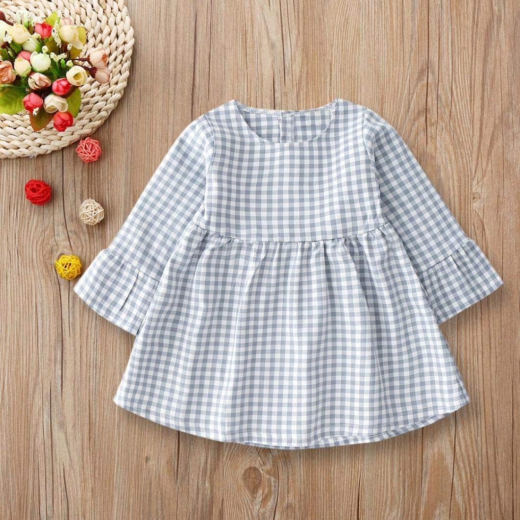 KONFA Toddler Baby Girls Long Sleeve Plaid Dress,Suitable 0-4 Years Old,Little Princess Casual Skirt Clothing Set