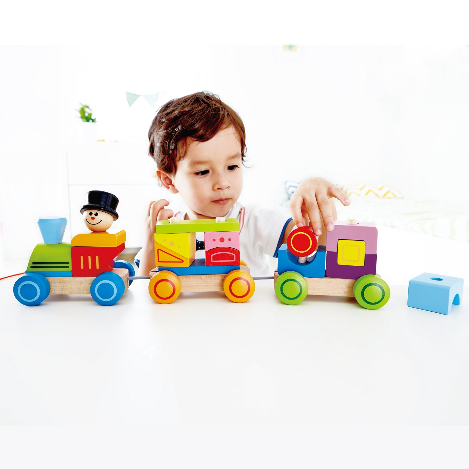 Amazon Hape Happy Train Stacking Blocks Toddler Pull Along