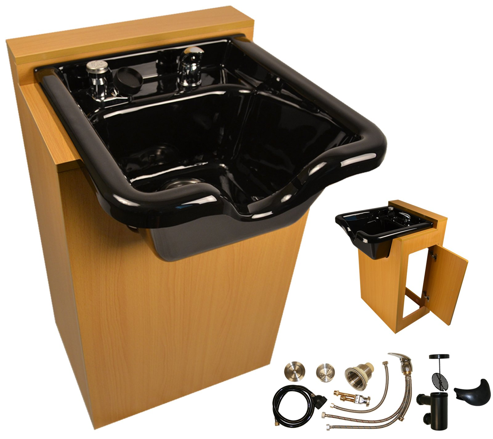 LCL Beauty Natural Oak Deluxe Shampoo Cabinet with Heavy Duty Acrylic Fiber Shampoo Bowl & Vacuum Breaker w/ 6 Black Towels