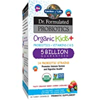 Garden of Life-Dr. Formulated Probiotics Organic Kids-Berry Cherry-Acidophilus and Probiotic Promotes Immune System,Digestive Health-Gluten,Dairy,Soy-Free,No Sugar Added-30 Chewables-Shipped Cold