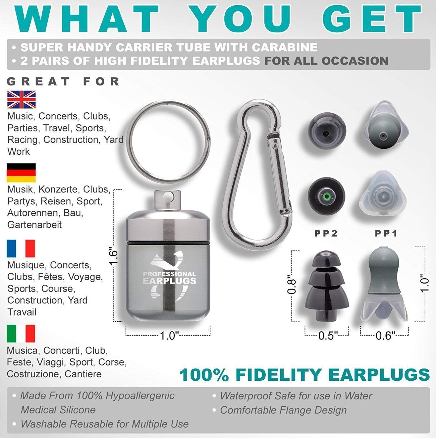 Noise Cancelling Ear Plugs for Sleeping - High Fidelity Silicone Earplugs Musicians' by CRIOXEN (Image #2)