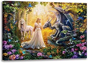 CNUSER Fairyland Canvas Print,Paintings Picture Forest Flower Beautiful Girl Dinosaur Unicorn Birds on Canvas Wall Art for Home Living Room and Office Decorations (Fairy 16x24inch NO Framed)
