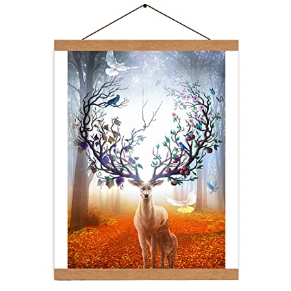 17.8 IcosaMro 18x24 17x24 18x12 17x11 Poster Frame Upgraded Magnetic Wood Poster Hanger for Picture Canvas Artwork Paper Map Photo Door Wall Hanging