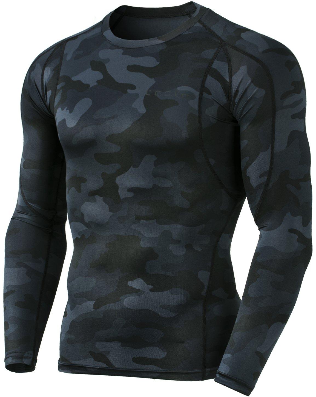 (テスラ)TESLA オールシーズン 長袖 ラウンドネック スポーツシャツ [UVカット吸汗速乾] コンプレッションウェア パワーストレッチ アンダーウェア R11 / MUD01 / MUD11 B07DZWXPVL Large|MUD11-MBK MUD11-MBK Large