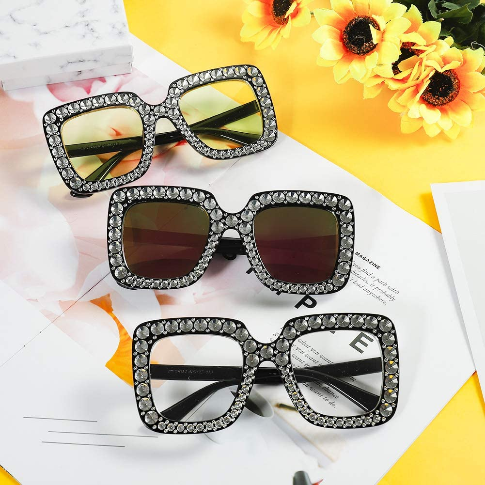 BKpearl 6 Pack Oversized Crystal Square Sparkling Sunglasses Retro Thick Frame Bling Rhinestone Glasses for Women