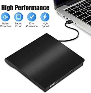 External CD DVD Drive, Domiy USB 3.0 Slim CD/DVD +/-RW Drive Rewriter Burner Writer, High Speed Data Transfer USB Optical Drives Player Player for PC Desktop/Laptop/Linux/Mac OS/Windows10/ 8/7 (Black)