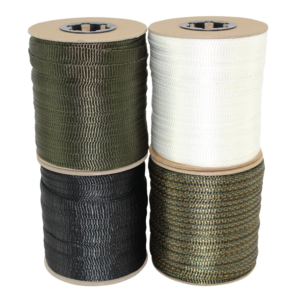 Polyester Webbing (5/8 inch) - SGT KNOTS - Flat Rope - Durable Polyester Pull Tape Strap - Moisture, UV, Rot, Oil & Gas Resistant - Utility, Arborist, Gardening, Marine, Commercial (100 ft - Black)