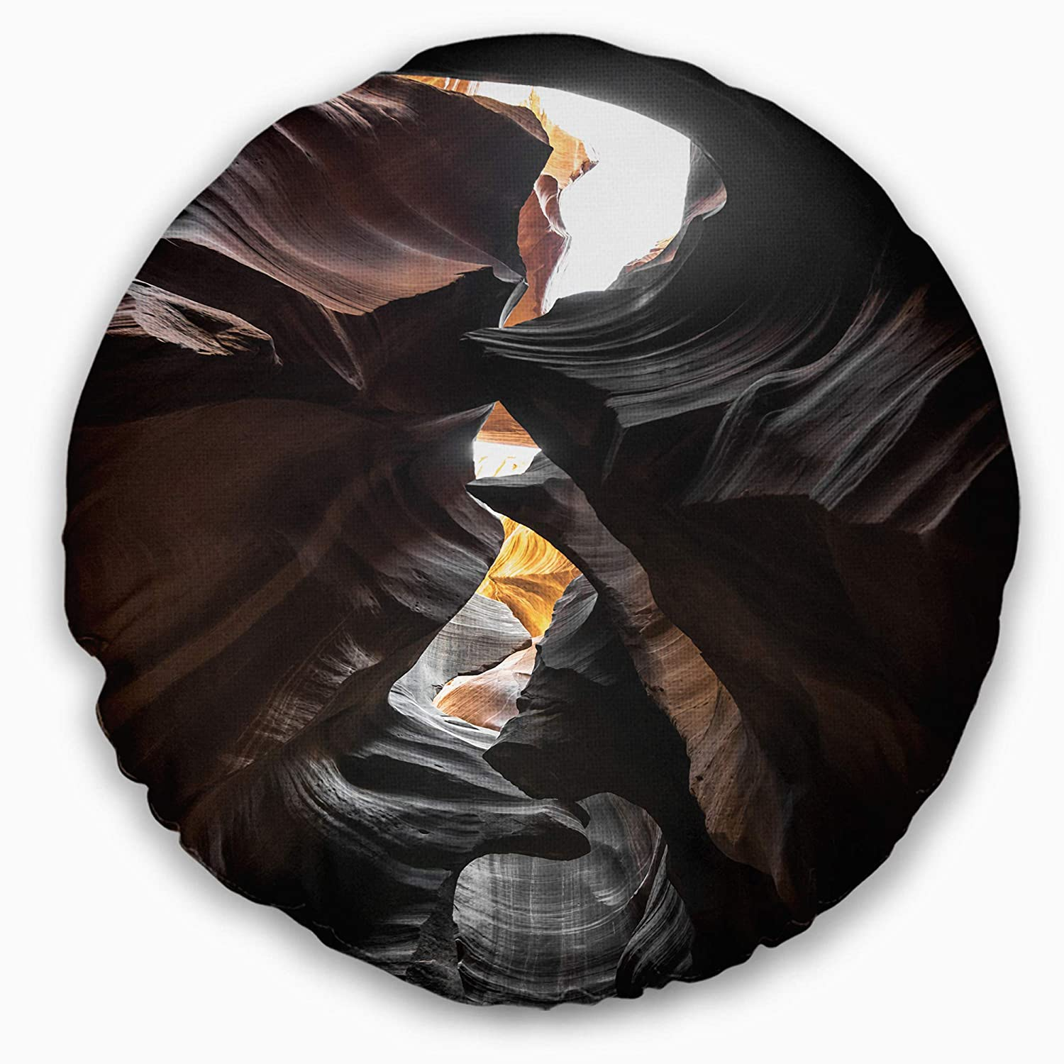 Sofa Throw Pillow 16 Designart CU8765-16-16-C Glowing Antelope Canyon Landscape Photo Round Cushion Cover for Living Room