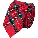 Levao Men's Cotton Plaid Tie Skinny Necktie
