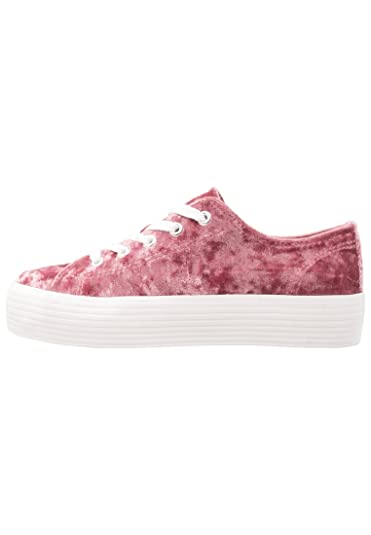 Even ODD Wedge Lace-Up Trainers for Women - Chunky Velvet Platform Pump  Sneakers in Pink 124cfc36a