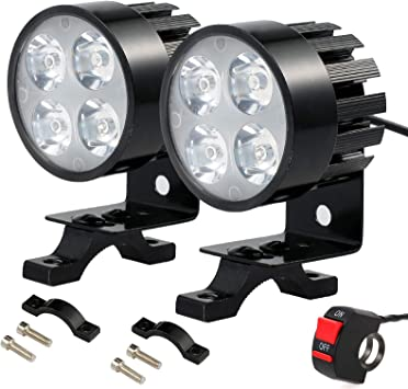 Prozor 2 X Led Scheinwerfer Für Motorrad Lenker 4 Led Lampen Nebelscheinwerfer Motorrad 12 V 85 V Dc Mit Ein Aus Schalter Auto