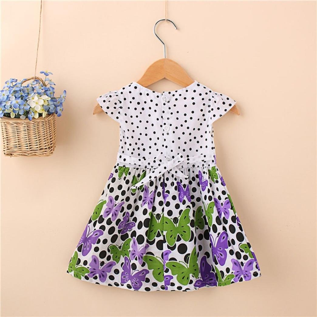 Amazon.com: ShiTou Girls Dress&&Girls Dot Butterfly Print Flower Casual Dress Clothes (Purple, XL): Clothing