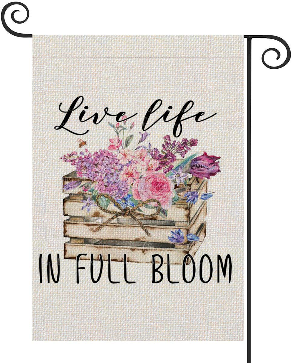 FIBEROMANCE Spring Summer Garden Flag Live Life in Full Bloom Welcome Flag Flower Vertical Double Sided Outdoor Yard Flag Porch Flag Spring Outdoor Decoration Decorative Home Décor 12x18 inches
