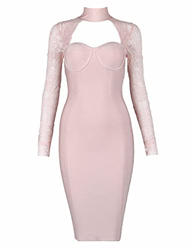 Meilun Women's Buster Long Sleeve Halter Neck Lace Cocktail Bandage Dress