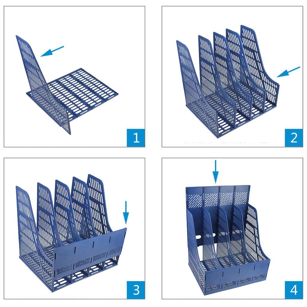 Stehsammler Desktop Zeitschriftensammler 4 Abschnitte Plastik Stehordner Office Papier Dokumente Prospekthalter Aktenhalter B/üro Schreibtisch Organizer