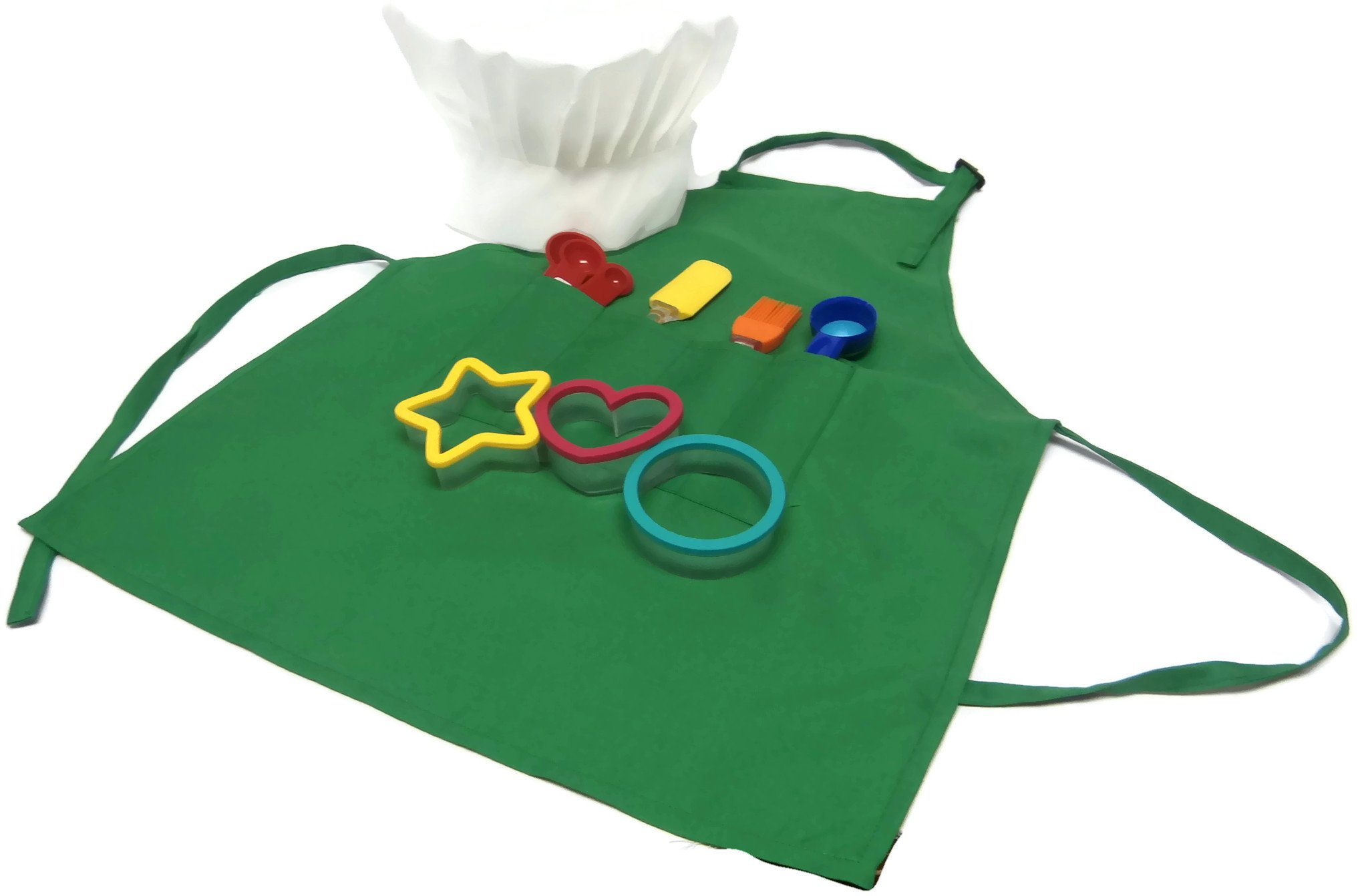 Kids Baking Set Apron Chefs Hat Cookie Cutters Scoop Measuring Spoons Spatula Brush (Green)