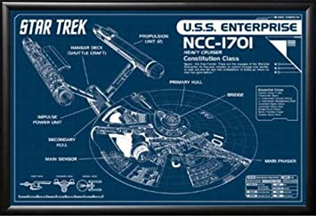 framed star trek enterprise blueprint 36x24 poster in basic black detail wood frame art print