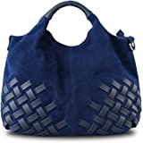 Nico Louise Women Purse Suede Split Genuine Leather Weave Handbag Leisure Casual Shoulder Bag