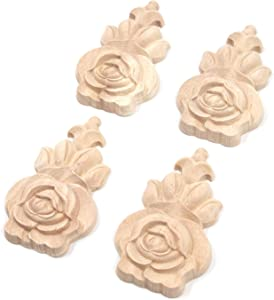 Tulead Rose Flower Decal Wooden Carved Appliques Decorative Onlay Appliques Furniture Corner Onlay for Door,Cabinet,Window (4pcs,10x6cm)