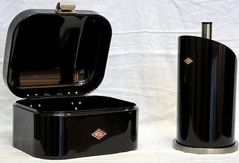 Wesco Single Grandy Brotkasten + Küchenrollenhalter im Set, Farbe: schwarz
