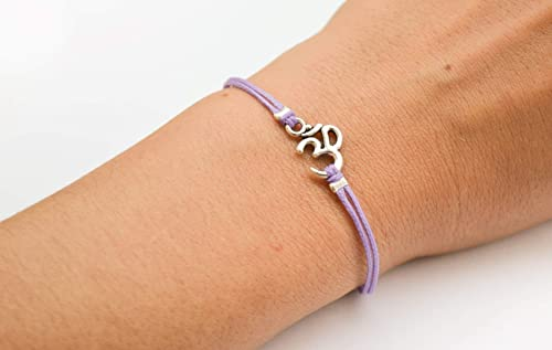 Silver Om Yoga Symbol Bracelet Casual Adjustable Gift for Yoga lovers Lilac Beaded Purple Cotton Cord Macrame