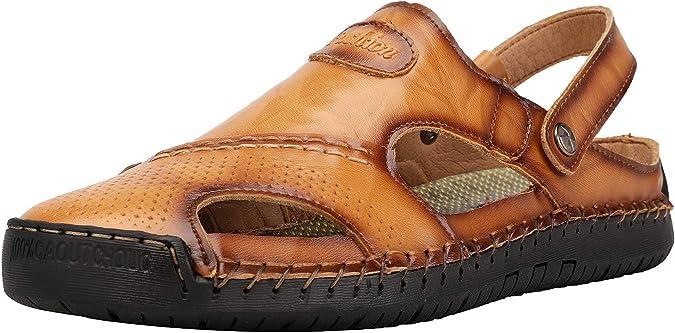 JINBEILE Hommes Cuir Bouts ferm/és Sandales Outdoor p/êcheur Scratch /ét/é Chaussure