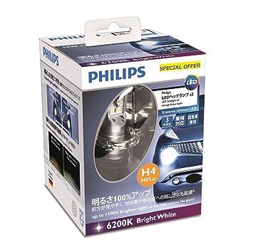 Philips X-treme Ultinon LED 12902LPX2 bombilla para coche - bombilla para coches (H4, LED, Luces largas, Luces cortas, P43t, Color blanco): Amazon.es: Coche ...
