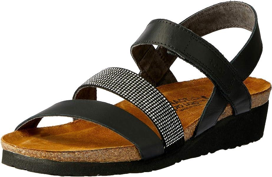 648719a4571f NAOT Footwear s Women Krista Backstrap Sandal Black Matte Lthr Black  w Silver Rivets 35