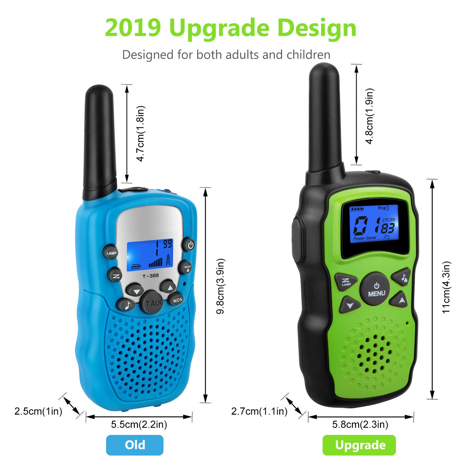 Wishouse 2 Rechargeable Walkie Talkies for Kids with Charger Battery, Two Way Radio Family Talkabout for Adult Cruise Ship Long Range, Outdoor Camping Hiking Fun Toy Birthday Gift for Girls Boys Green by Wishouse (Image #4)