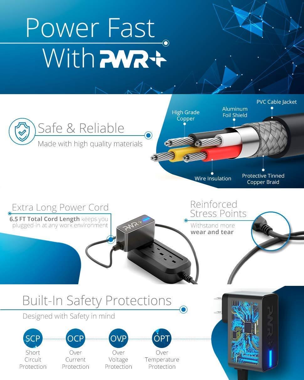 6.5 Ft Pwr+ Rapid 2A Charger for Acer One 10 S1002 N15P2 N15PZ; Chromo Inc; iRulu; Zeepad; Dragon Touch; AGPTek; KingPad; LA-520 LA-520W UL Listed 2 Meters