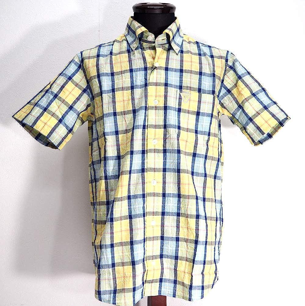 50152 Vittorio Carini 日本製 綿麻 ボタンダウンシャツ 半袖 イエロー 48(L) サイズ 日本製 メンズ カジュアル 男性 春夏 ゴルフ 通販   B07PWQ9YBG