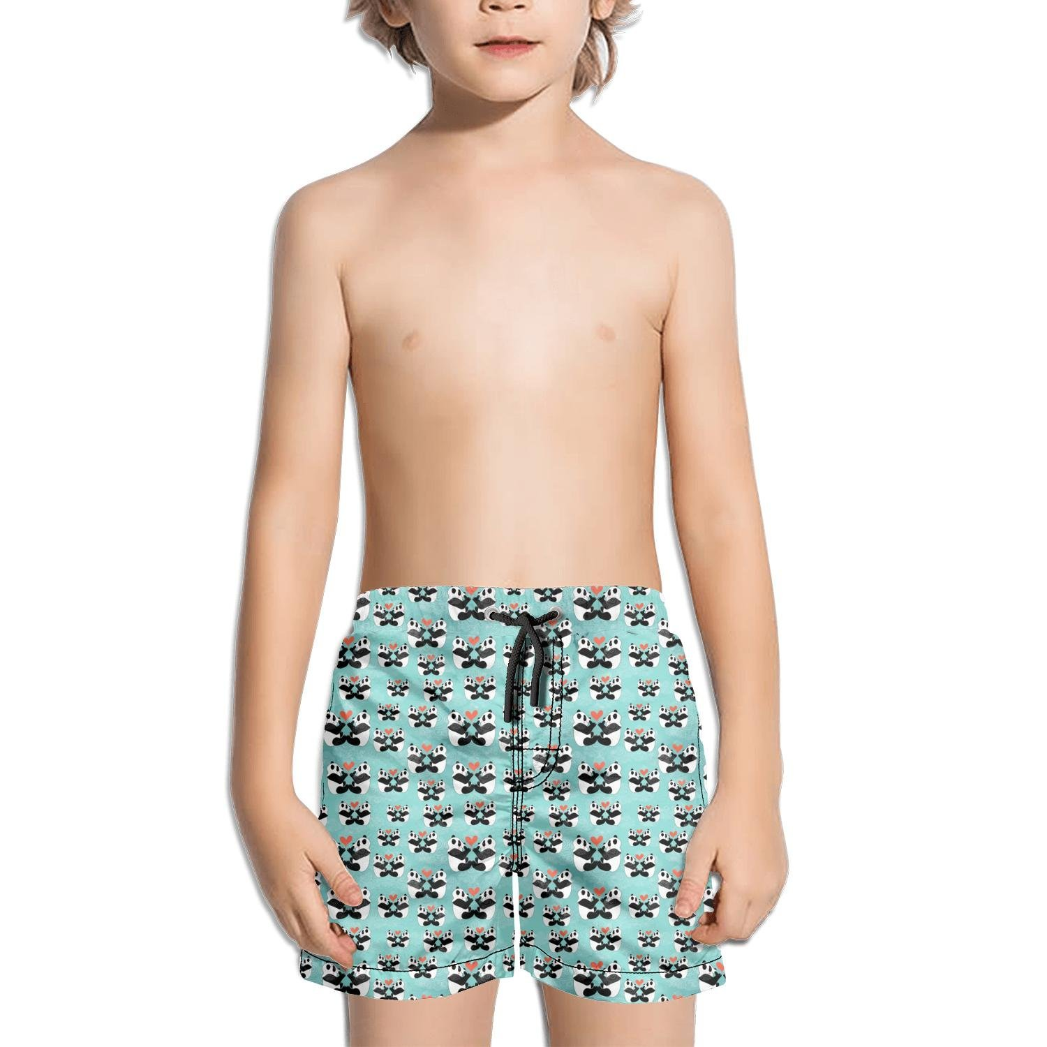 Ina Fers.Youth Quick Dry Swim Trunks Panda Bear in Love Blue Shorts