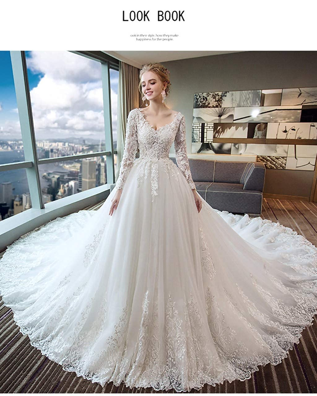 Darcy74Dulles Womens V-Neck Lace Wedding Dresses Bridal Gowns Long Sleeves Ball Gowns with Appliques