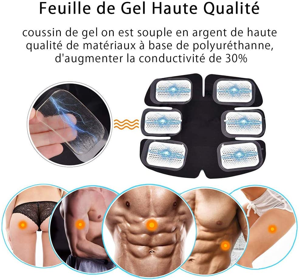 Les yeu 48pcs//24 Packs Gel Sheets for Gel Pad for Muscle Stimulator Abdominal Muscle Stimulator