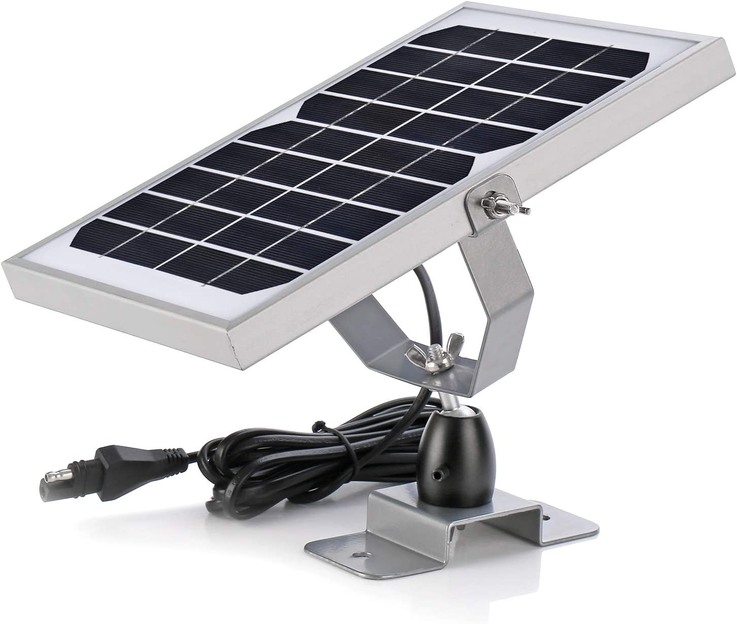 6V Waterproof Solar Battery Trickle Charger & Maintainer - 5 Watts Solar Panel Built-in Intelligent MPPT Solar Charge Controller + Adjustable Mount Bracket + SAE Cable Kits